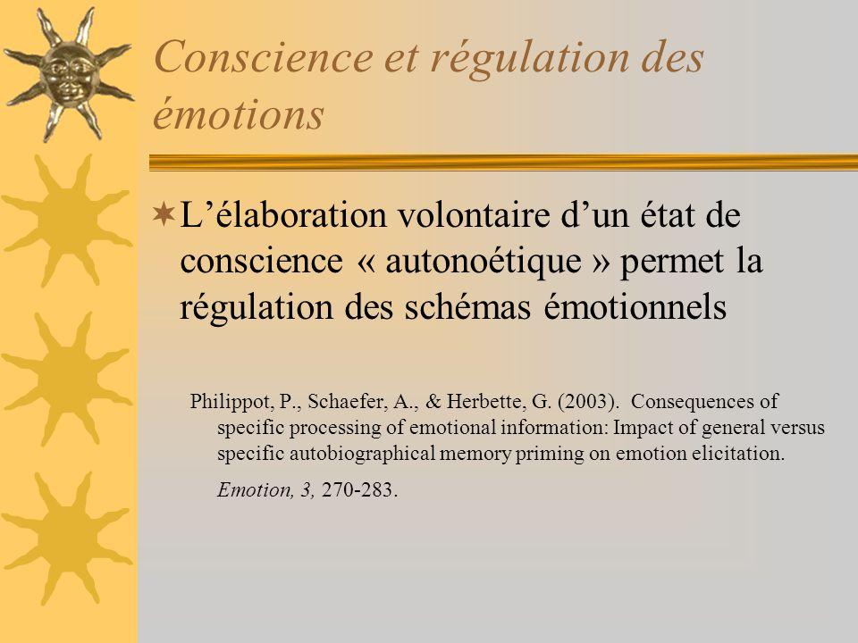 Conscience et régulation des émotions