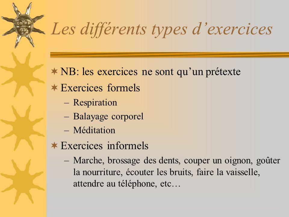Les différents types d'exercices