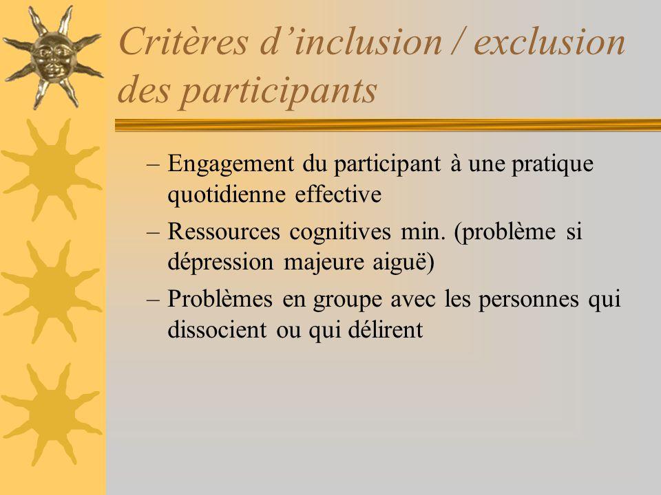 Critères d'inclusion / exclusion des participants