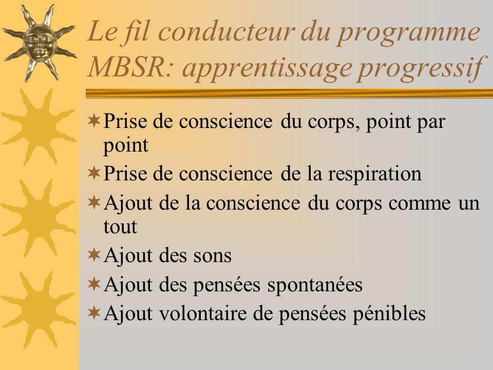 Le fil conducteur du programme MBSR: apprentissage progressif