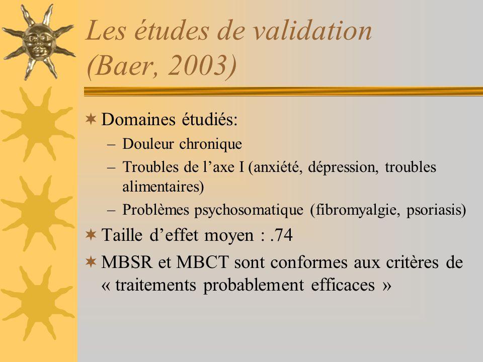 Les études de validation (Baer, 2003)