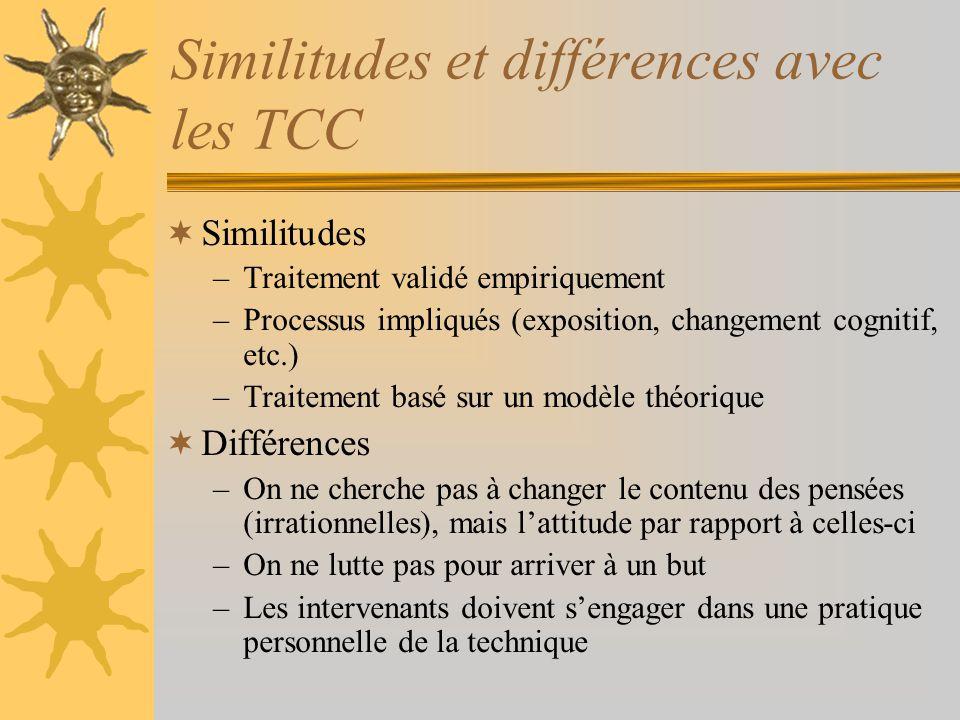 Similitudes et différences avec les TCC