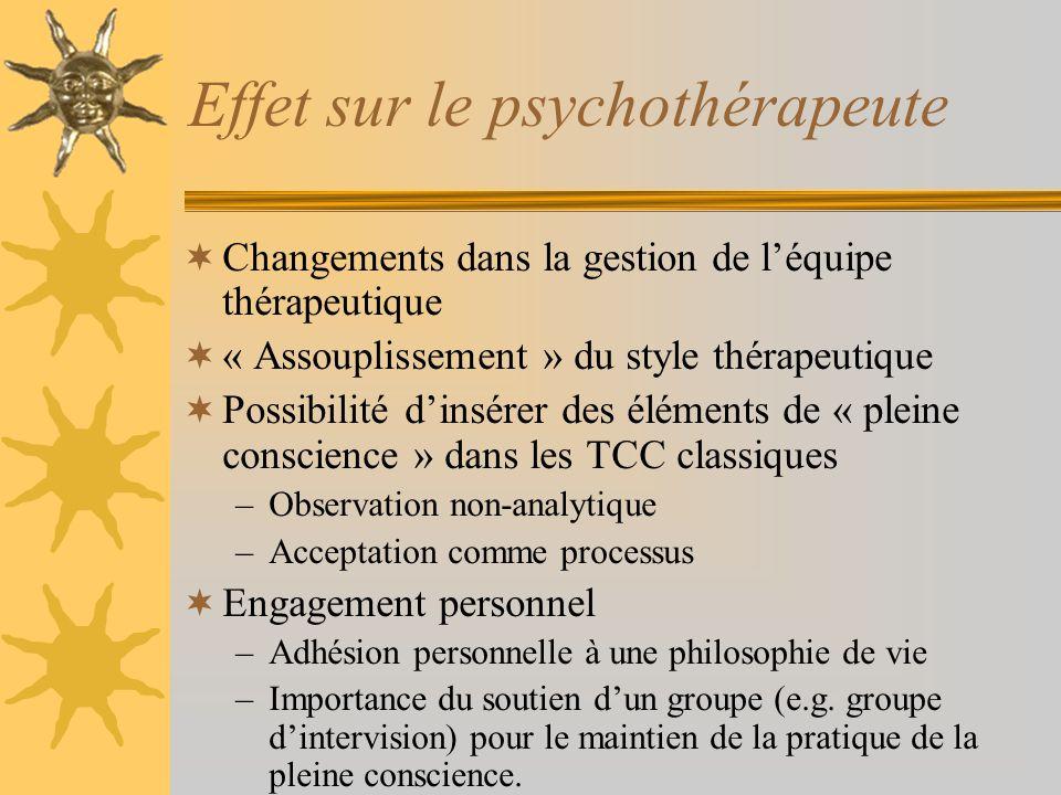 Effet sur le psychothérapeute
