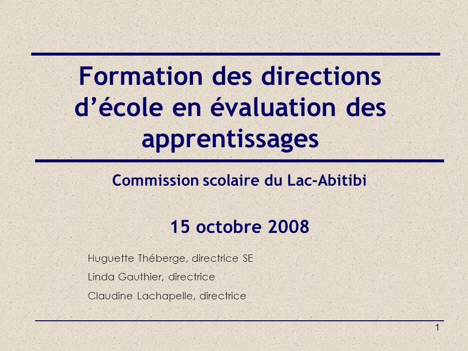 Formation des directions d'école en évaluation des apprentissages