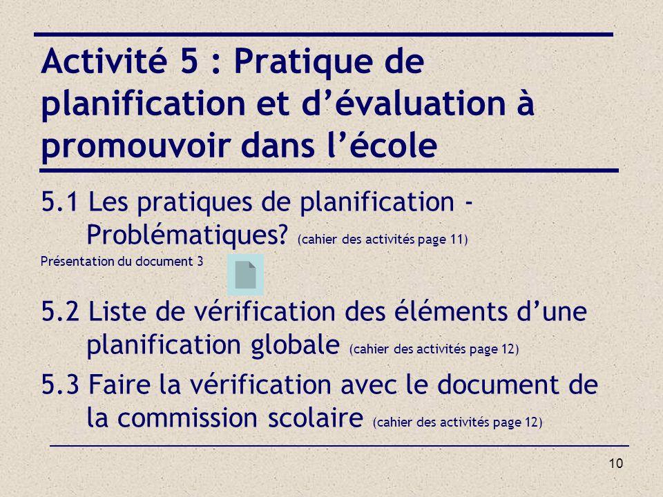 Activité 5 : Pratique de planification et d'évaluation à promouvoir dans l'école