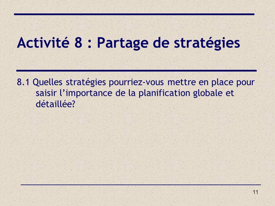Activité 8 : Partage de stratégies