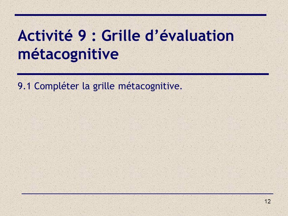 Activité 9 : Grille d'évaluation métacognitive