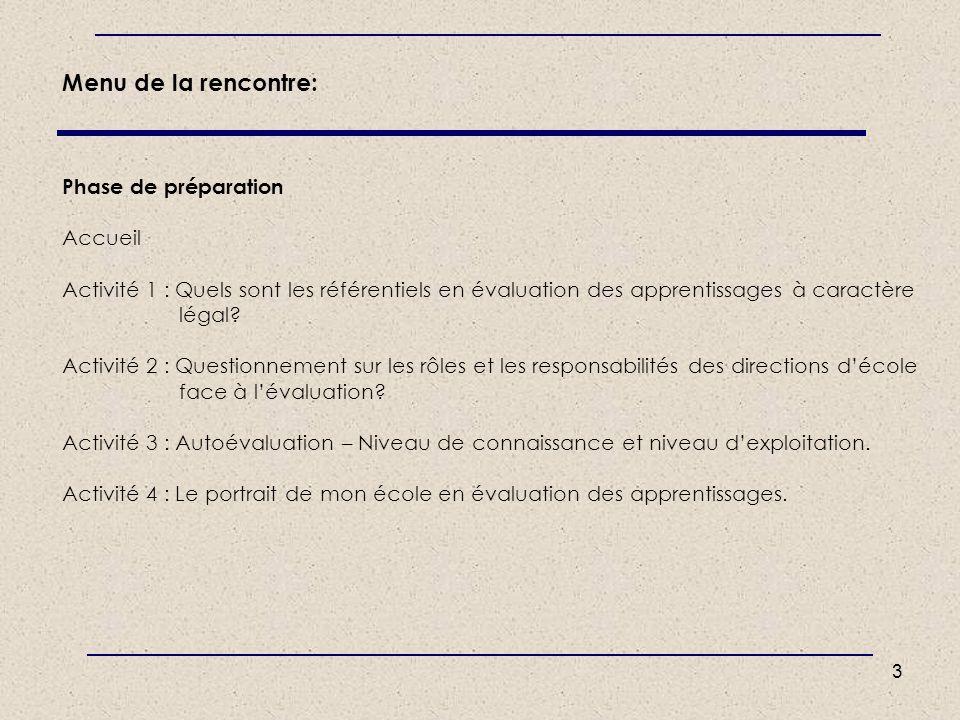 Menu de la rencontre: Phase de préparation Accueil Activité 1 : Quels sont les référentiels en évaluation des apprentissages à caractère légal.