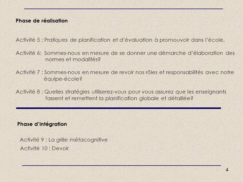 Phase de réalisation Activité 5 : Pratiques de planification et d'évaluation à promouvoir dans l'école.