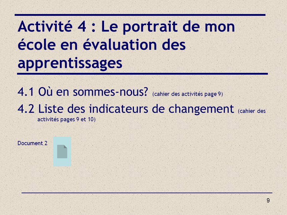 Activité 4 : Le portrait de mon école en évaluation des apprentissages