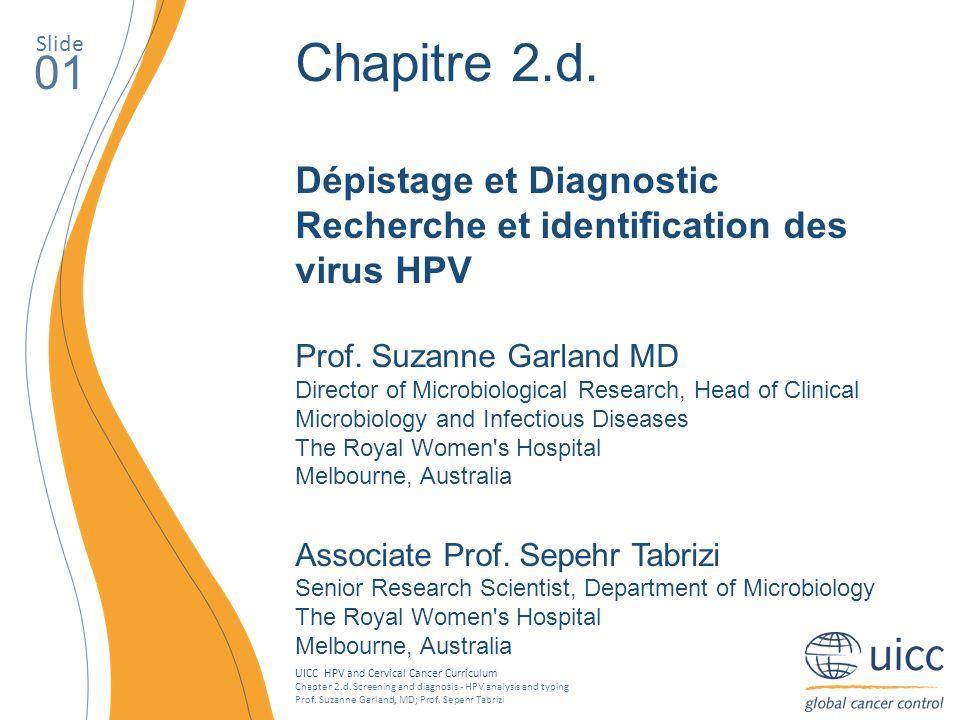 Slide Chapitre 2.d. Dépistage et Diagnostic Recherche et identification des virus HPV. Prof. Suzanne Garland MD.