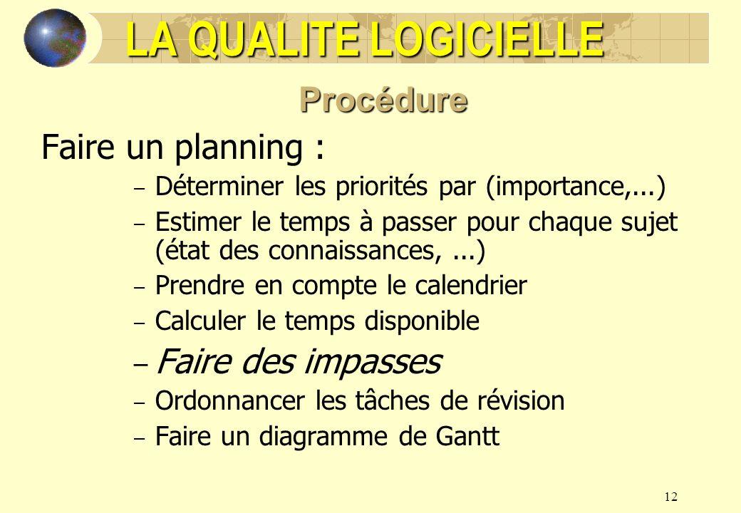 LA QUALITE LOGICIELLE Procédure Faire un planning : Faire des impasses