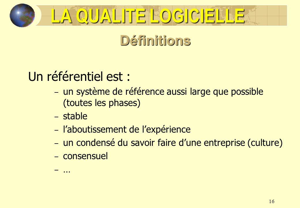 LA QUALITE LOGICIELLE Définitions Un référentiel est :