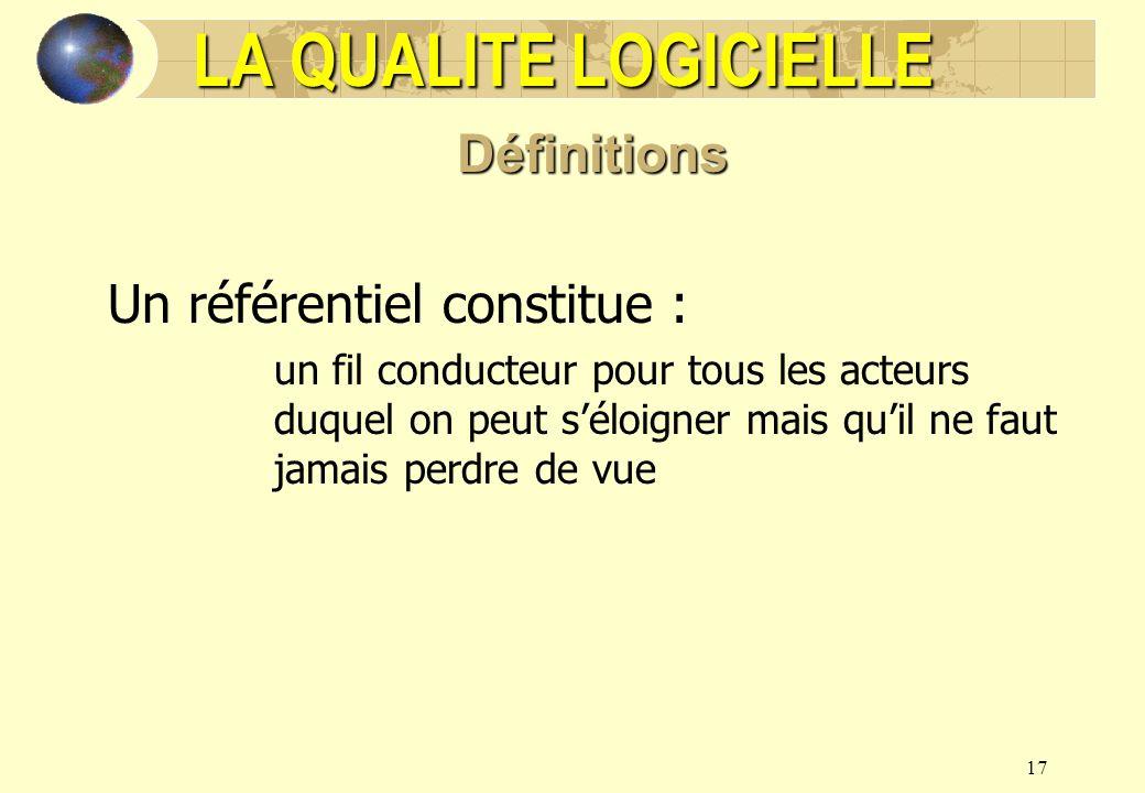 LA QUALITE LOGICIELLE Définitions Un référentiel constitue :