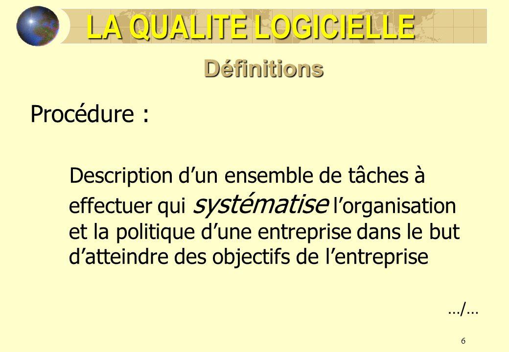 LA QUALITE LOGICIELLE Définitions Procédure :