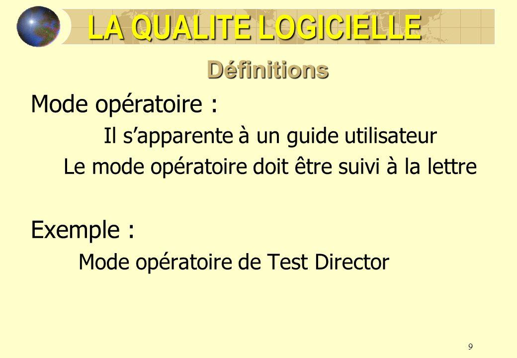 LA QUALITE LOGICIELLE Définitions Mode opératoire : Exemple :