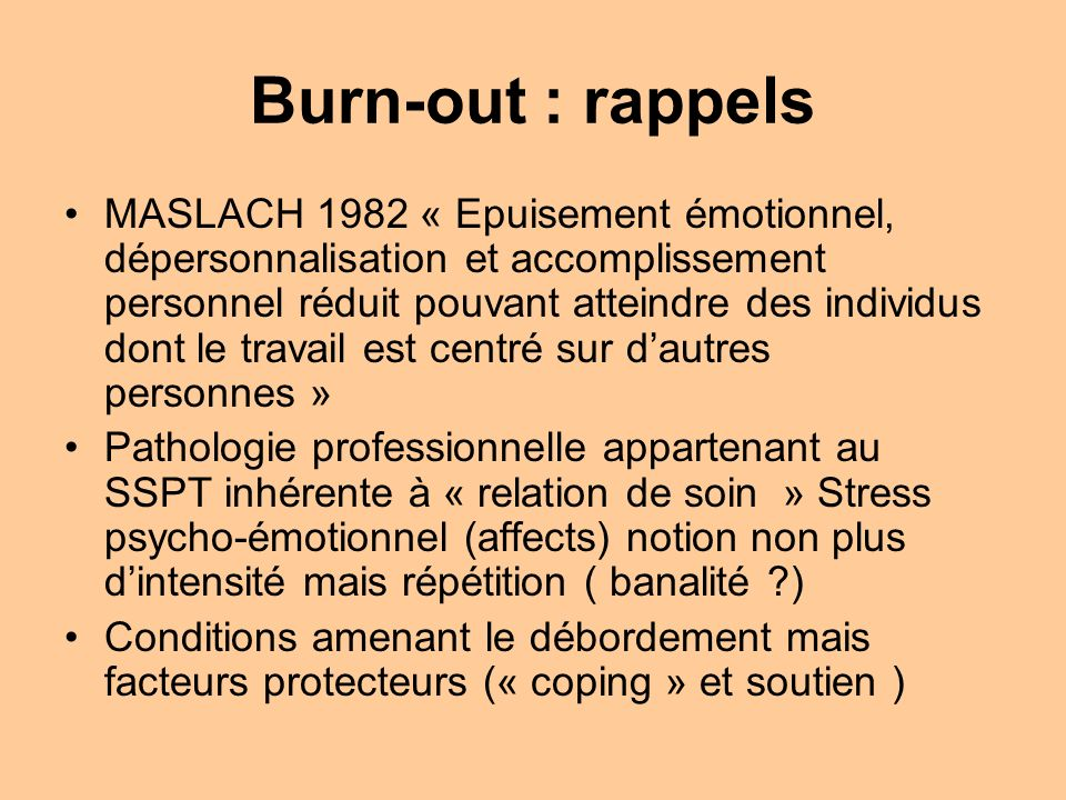 Burn-out : rappels