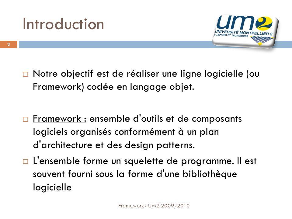 IntroductionNotre objectif est de réaliser une ligne logicielle (ou Framework) codée en langage objet.