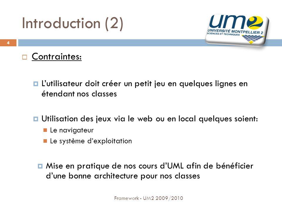 Introduction (2) Contraintes: