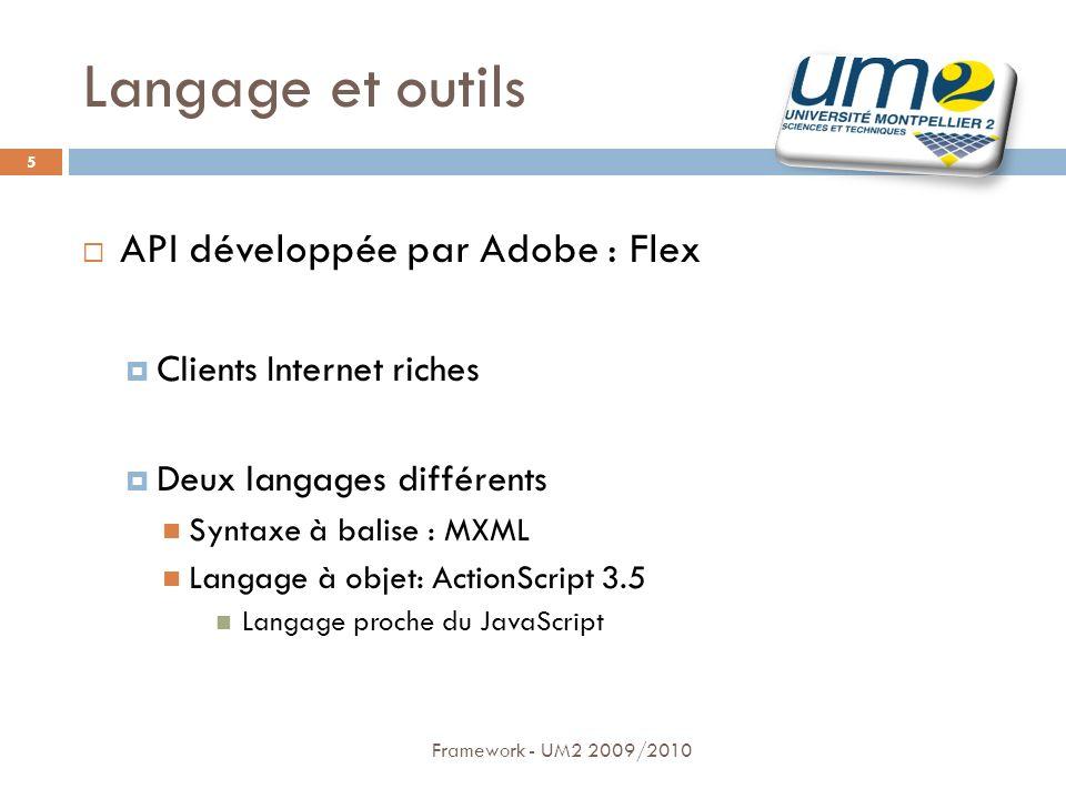 Langage et outils API développée par Adobe : Flex