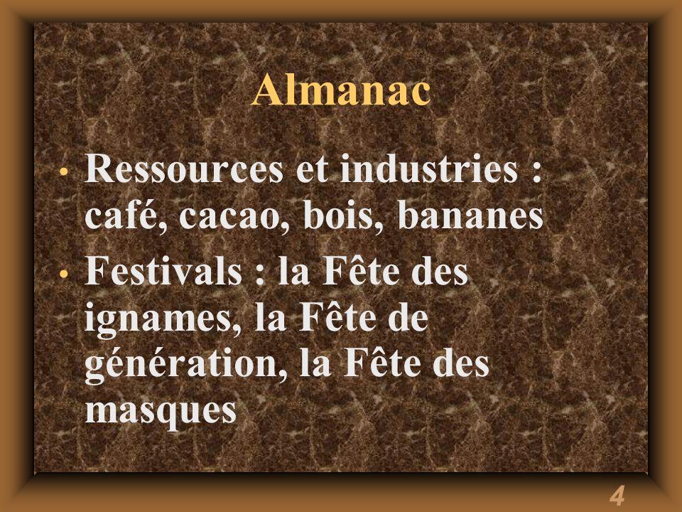 Almanac Ressources et industries : café, cacao, bois, bananes