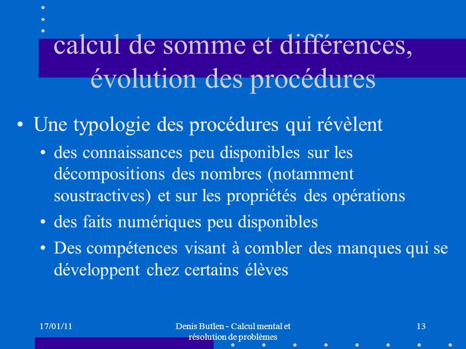 calcul de somme et différences, évolution des procédures