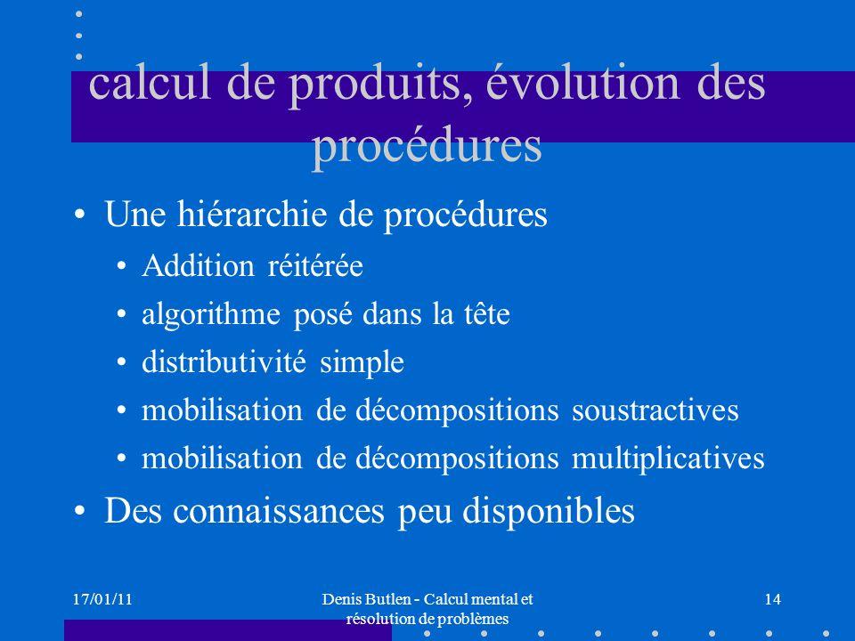 calcul de produits, évolution des procédures