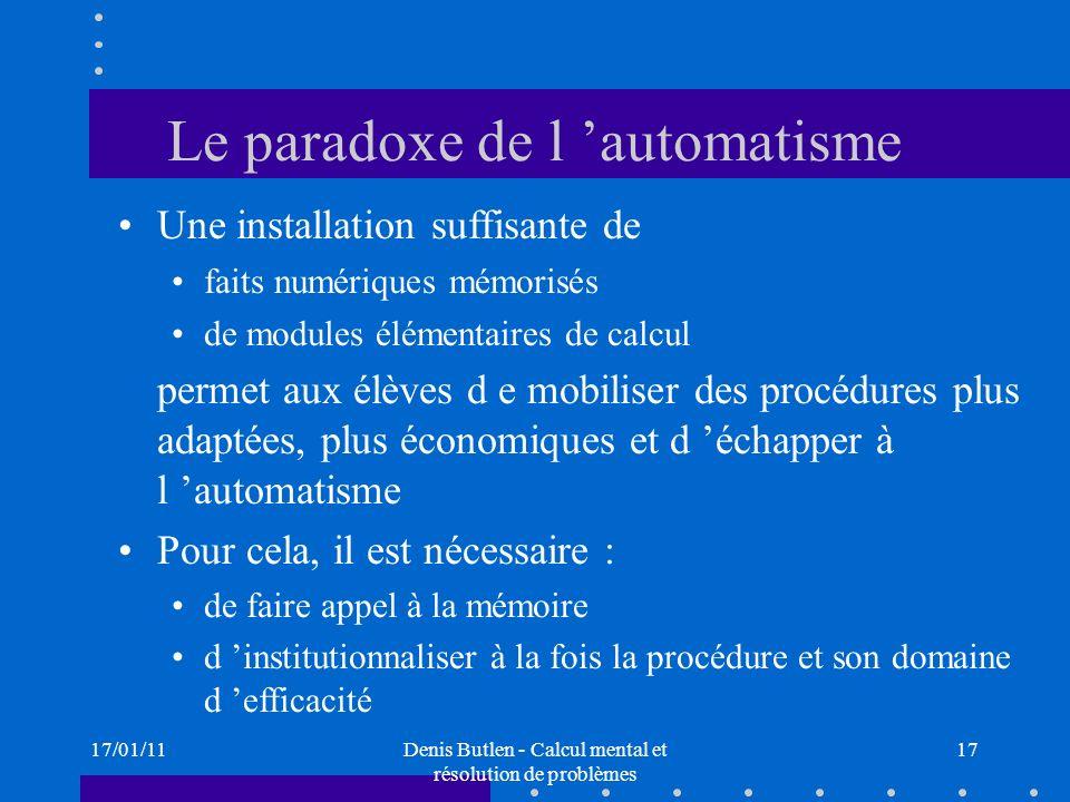 Le paradoxe de l 'automatisme