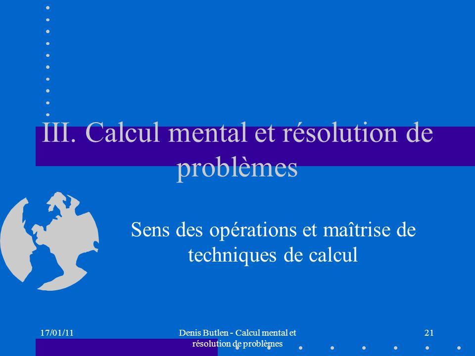 III. Calcul mental et résolution de problèmes