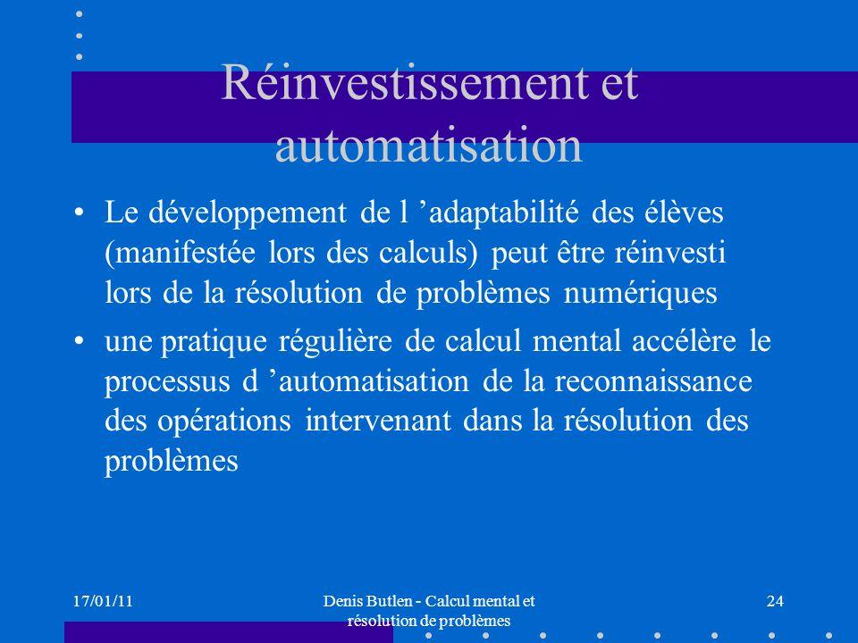 Réinvestissement et automatisation