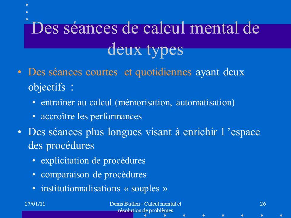 Des séances de calcul mental de deux types