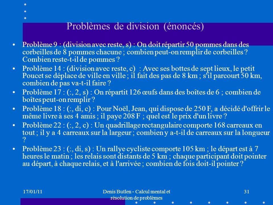Problèmes de division (énoncés)