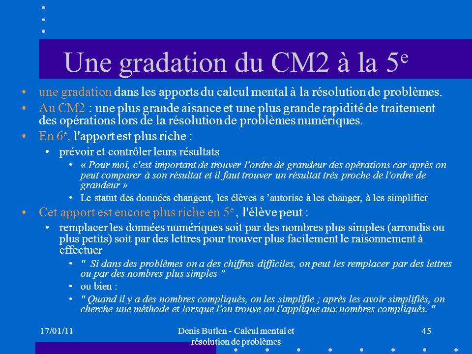 Une gradation du CM2 à la 5e