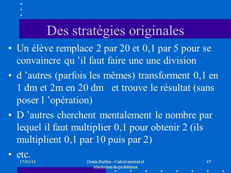 Des stratégies originales