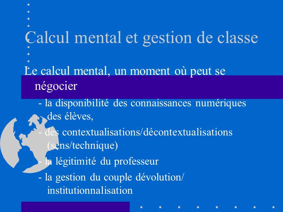 Calcul mental et gestion de classe