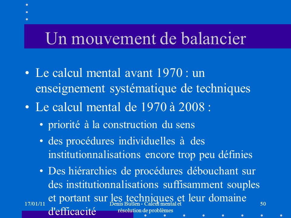 Un mouvement de balancier