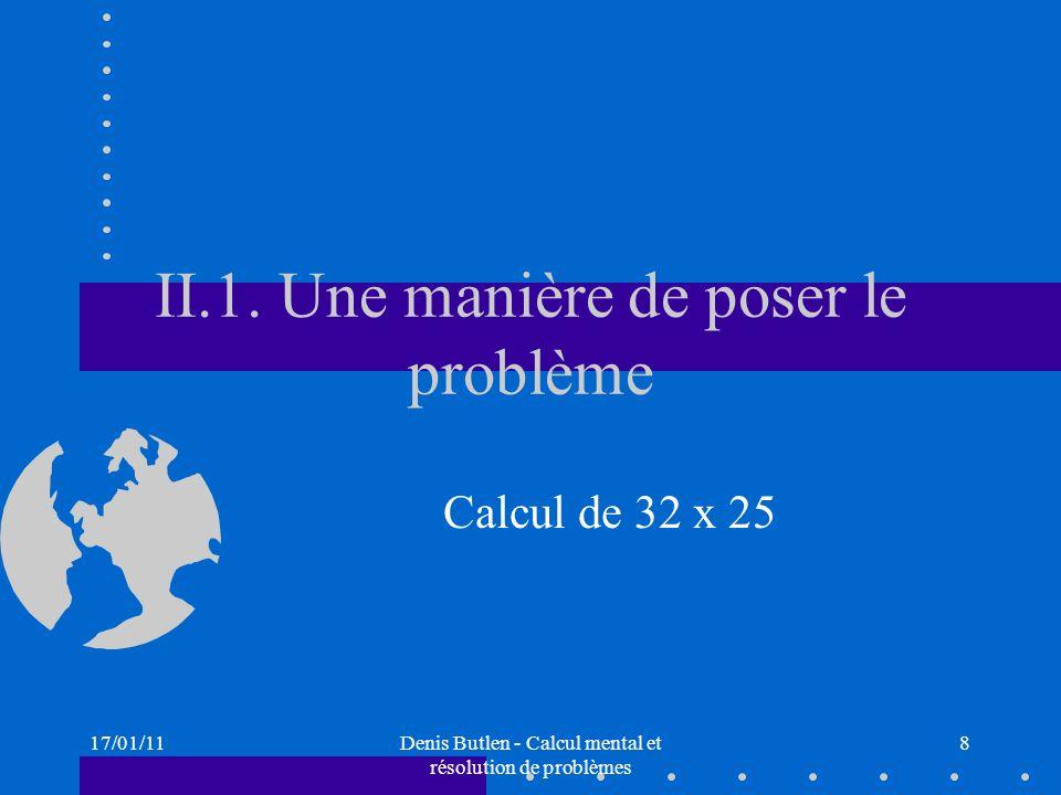 II.1. Une manière de poser le problème