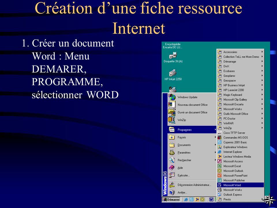 Création d'une fiche ressource Internet
