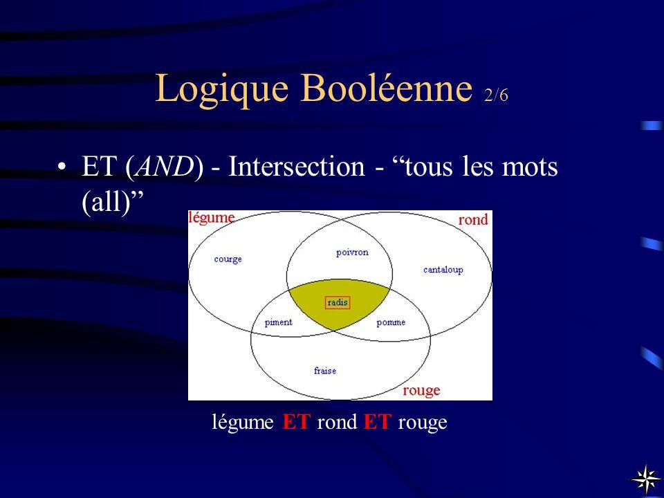 Logique Booléenne 2/6 ET (AND) - Intersection - tous les mots (all)
