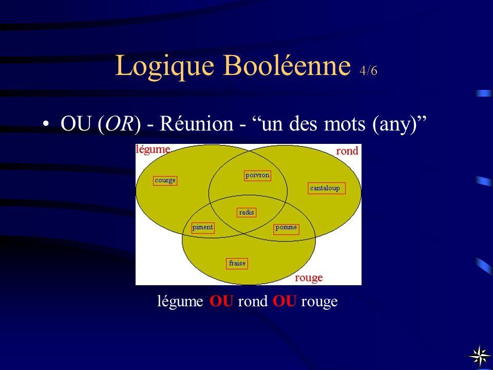 Logique Booléenne 4/6 OU (OR) - Réunion - un des mots (any)