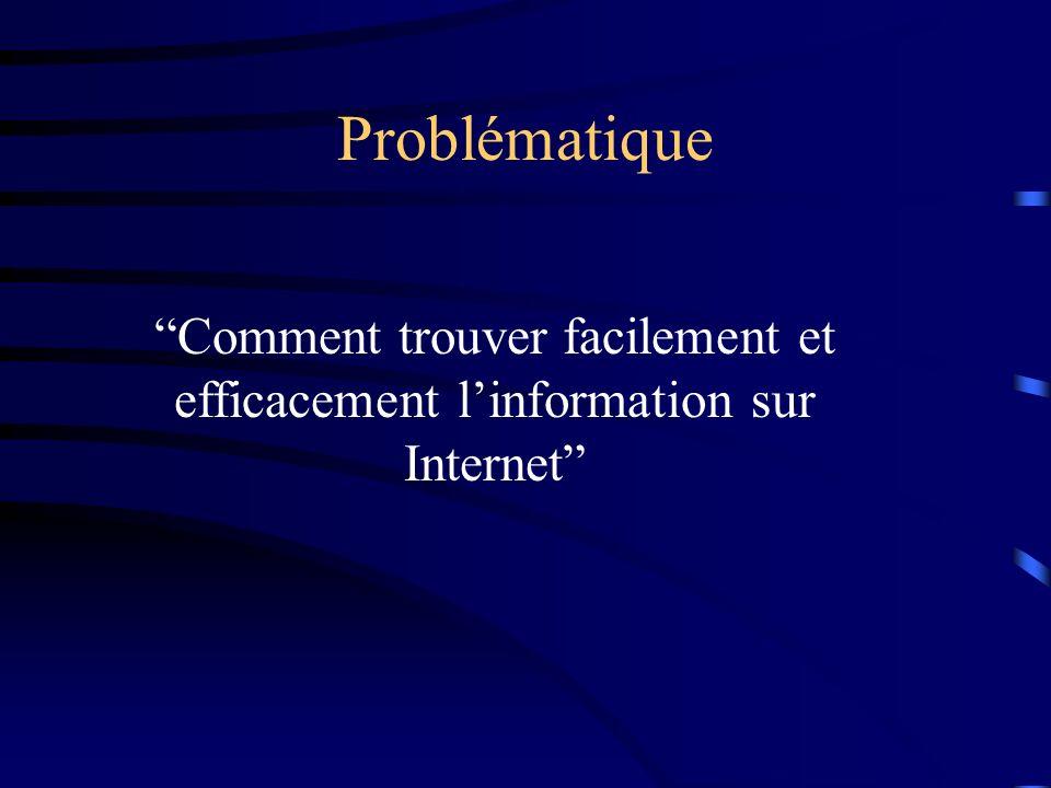 Problématique Comment trouver facilement et efficacement l'information sur Internet
