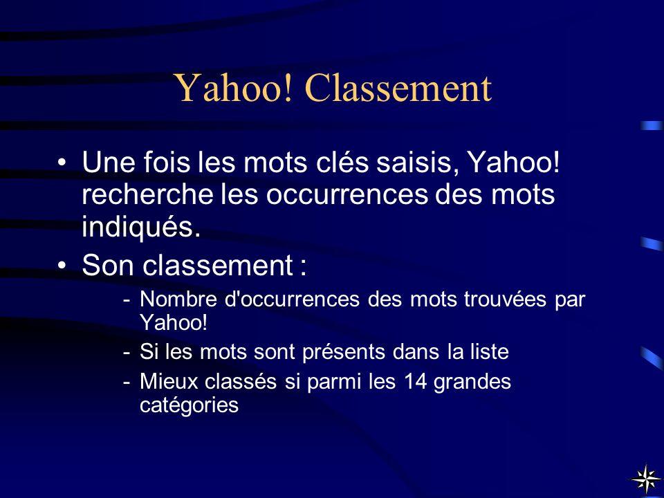 Yahoo! Classement Une fois les mots clés saisis, Yahoo! recherche les occurrences des mots indiqués.