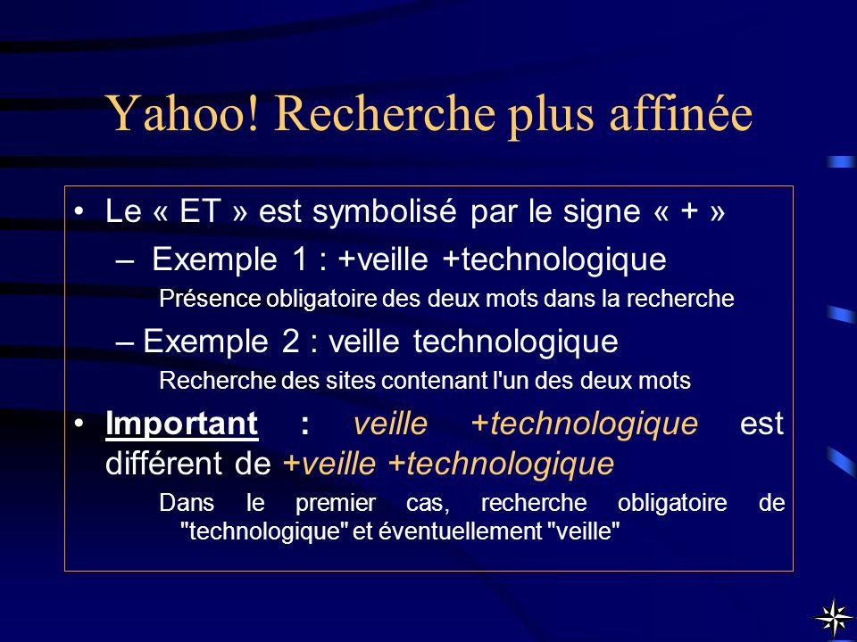 Yahoo! Recherche plus affinée