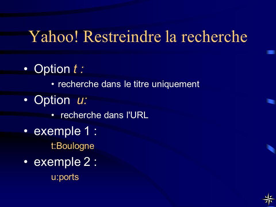 Yahoo! Restreindre la recherche