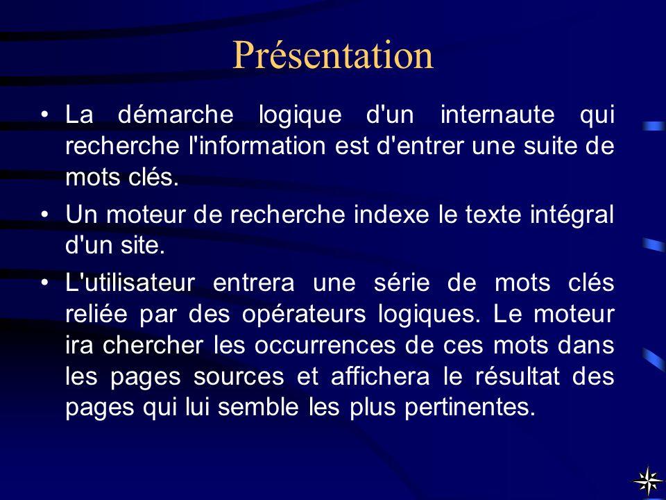 Présentation La démarche logique d un internaute qui recherche l information est d entrer une suite de mots clés.