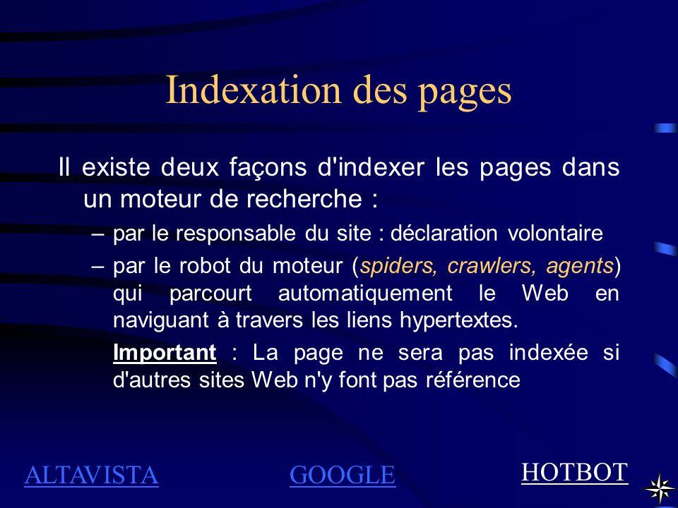Indexation des pages Il existe deux façons d indexer les pages dans un moteur de recherche : par le responsable du site : déclaration volontaire.