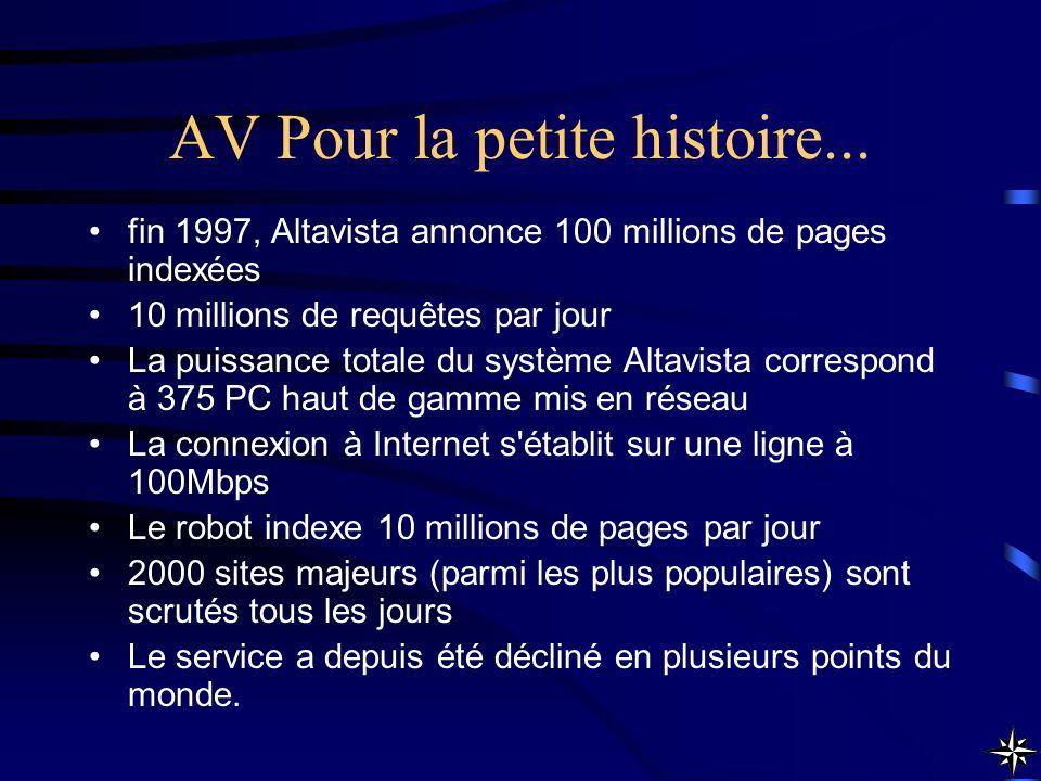 AV Pour la petite histoire...
