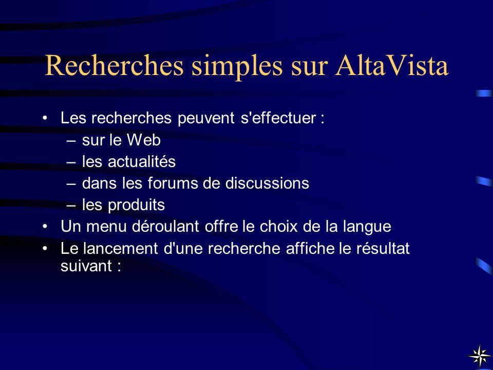 Recherches simples sur AltaVista