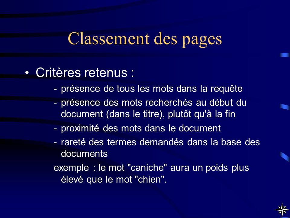 Classement des pages Critères retenus :