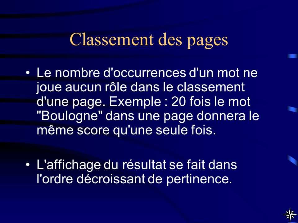 Classement des pages